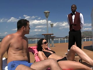 Waiter joins Aliz and her boyfriend in a threesome on a boat