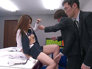 Hairy pussy Japanese hottie gang-banged at the post