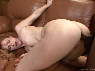 Freckled slut fucked up the ass by a black dick