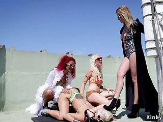 Three lesbians ass fuck fucks blond hair lady sub