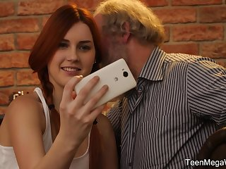 Cute teen with pigtails Charli Red pounded by an older guy