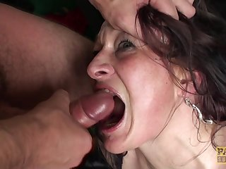 Mature brunette whore Welsh Rebel forced to take cum in mouth