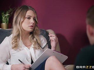 Nerdy blonde office slut Giselle Palmer creampied while on her break