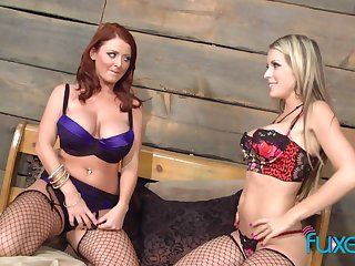 Courtney Cummz and Sophie Dee lesbian in supersexy black fishnet stockings