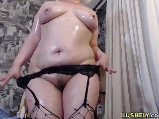 Horny bbw chick showing her hairy pussy for you to lick