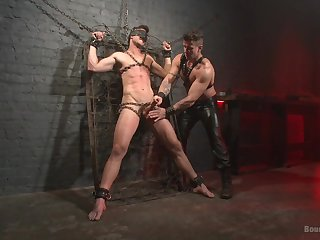 Gagged gay lover leaves his male master to go full mode on him
