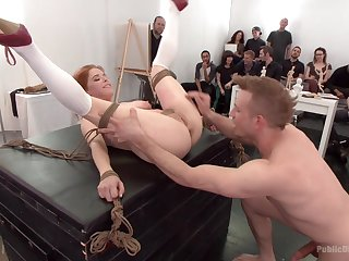 Cum shower for kinky redhead Penny Pax after gangbang torture