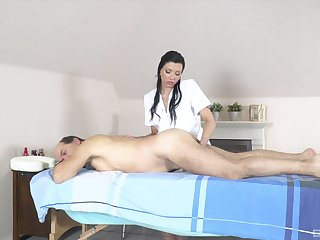 Old man receives massage and sex from horny masseuse