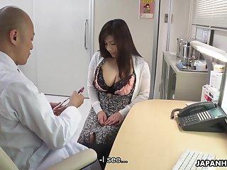 Depraved chubby Japanese lady Satomi Katayama is ready to suck several cocks