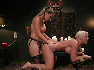 MILF ass fucked and spanked in lesbian femdom XXX