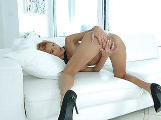 Time for this skinny beauty to toy fuck her tiny holes