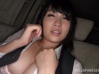 Satomi Nomiya blindfolded and pleasured by a stranger in the car