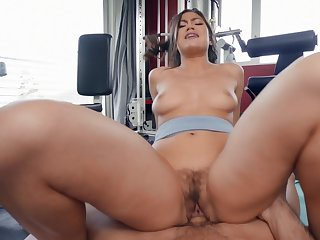 Aroused Asian with big ass, nasty riding porn at the gym