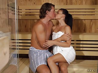 Smooth fucking in the sauna with small tits model Kate Rich