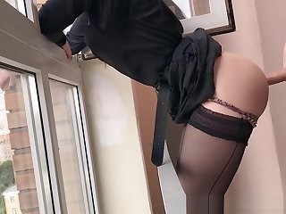 Neighbour Blackmailed and Fucked in Entrance for Smoking, she Begged not to tell her Mom