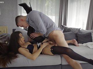 Man's huge dick slides into her wet cunt like a hammer