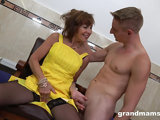 After jerking cock off slutty mature bitch with big ass is fucked from behind