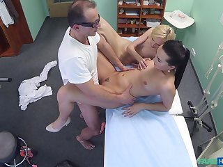 Lovely blonde's threeway screwing with her doctor and nurse