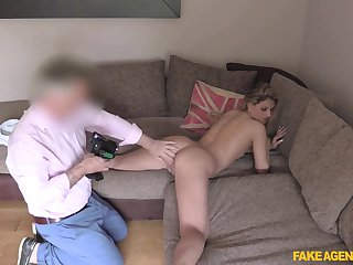 Erotic display of a young blonde's ass being pumped by an old guy