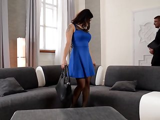 Outstanding dark-haired is about to have a mmf 3 way in her fresh palace and get a internal ejaculation
