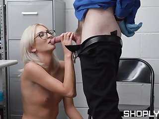 Young shop lifter gets the dick in both her tiny holes