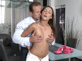 Persistent brunette gets all she needs from a masterful lover