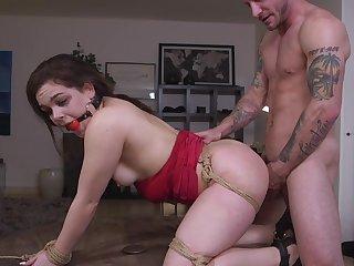 Gagged slave girl anal fucked in bondage XXX maledom scenes