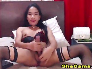 Cute Tranny Jerking Off Her Big Tgirl Cock