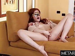 Masked redhead girl masturbating