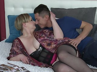 Short haired horny mature MILF Silana sucks and rides in stockings