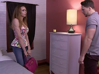 Slender shemale Savannah Thorne is fucked anally after a steamy blowjob session