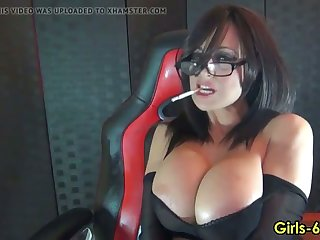 hot girl with big tits smoking on cam