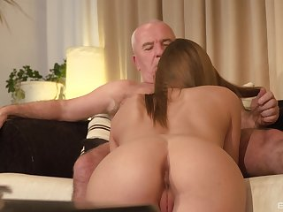 Teen blonde babe seduces an old guy and sucks his fat dick