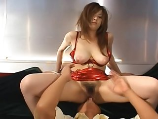 Pretty Asian Teen in White Panties showing off her Orange Racing Costume