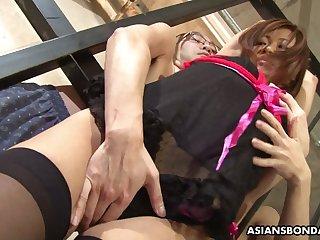 Horny upskirt masturbation show with such a lewd Asian bondage slut Aoi Mikami