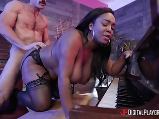 Black queen with fat ass gets fucked in sexy black lingerie