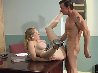Merciless hard sex on a desk for busty Kagney Linn Karter