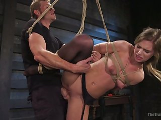 Standing on one leg almost naked tied up whore Sydney Cole gets poked hard