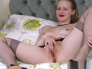 Blonde office slut toying pussy in stilettos retro nylons