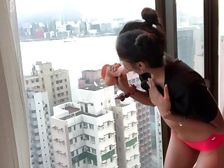 NAUGHTY DESI COLLEGE TEEN RIDES DILDO AGAINST HONG KONG SKYSCRAPER WINDOW