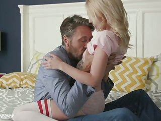 Emotional gal in stockings Kate Bloom kisses her stud during sideways sex