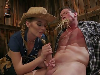 Hot blooded cowgirl Mona Wales finger fucks anus and jerks off hard dick
