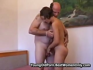 Horny Old Man Enjoying Give Girl Sexual Teach