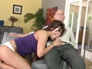 Senior man fucks Asian pussy and loves the moans she makes