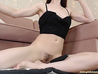 Passionate Young Babe toying her wet hairy pussy on webcam - solo masturbation