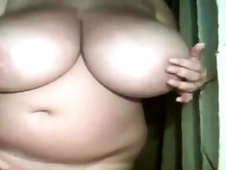 Amateur BBW showing her massive tits on cam