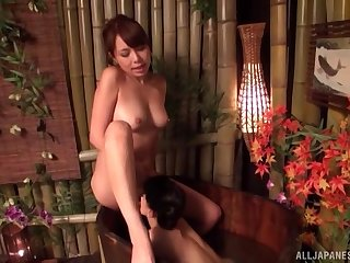 Japanese with curvy forms, first lesbian tryout with her sis