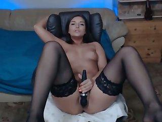 nice babe in stocking enjoys vibrations