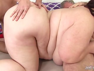 super sized BBW with fat ass takes 2 dicks in amateur threesome with cumshots